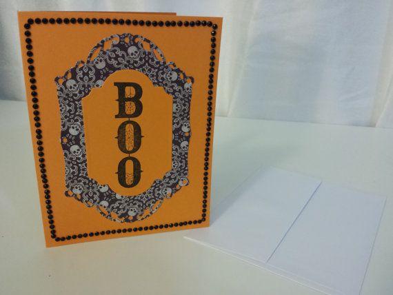 Handmade Halloween Greeting Card with White Envelope - BOO Orange Black Skulls