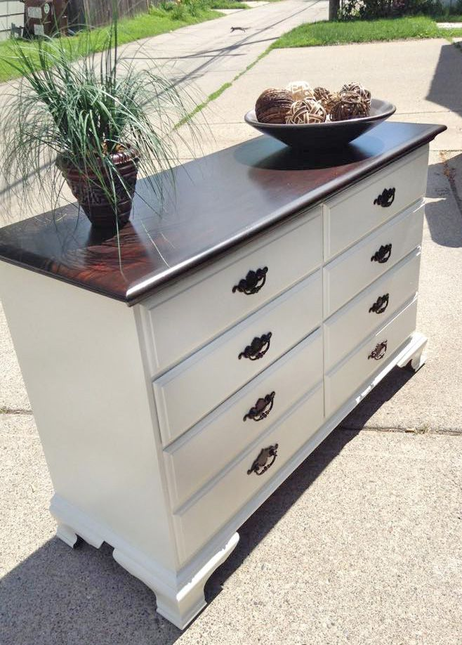 Laura Jean Hernandez refinished this beautiful buffet using General Finishes Java Gel Stain and Antique White Milk Paint.