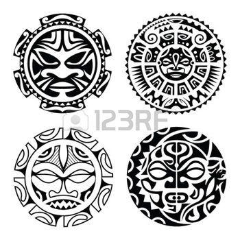 maorie: Set de tatouage style masques polynésiens. Vector illustration.
