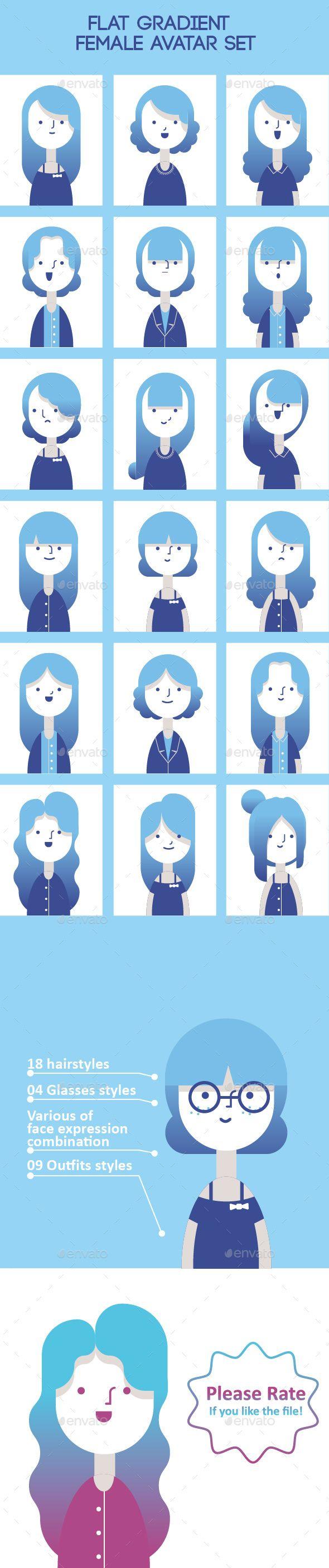 Flat Gradient Female Avatar Set - People Characters