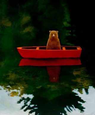 ♨ Intriguing Images ♨ unusual art photographs, paintings & illustrations - Bear in Boat by Joyce Koskenmaki