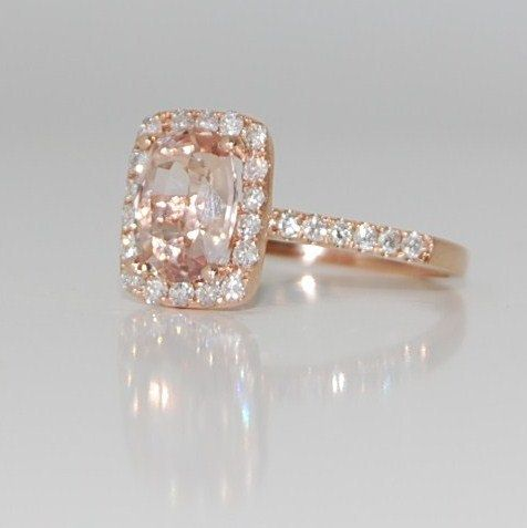 2.15ct Cushion peach champagne sapphire in 14k rose gold diamond ring-final payment for halojena.  Approx 2K