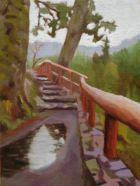 Sooke River Overlook    Scene from a viewpoint at the Sooke Potholes regional park.  5 in. x 7 in. oil on canvas