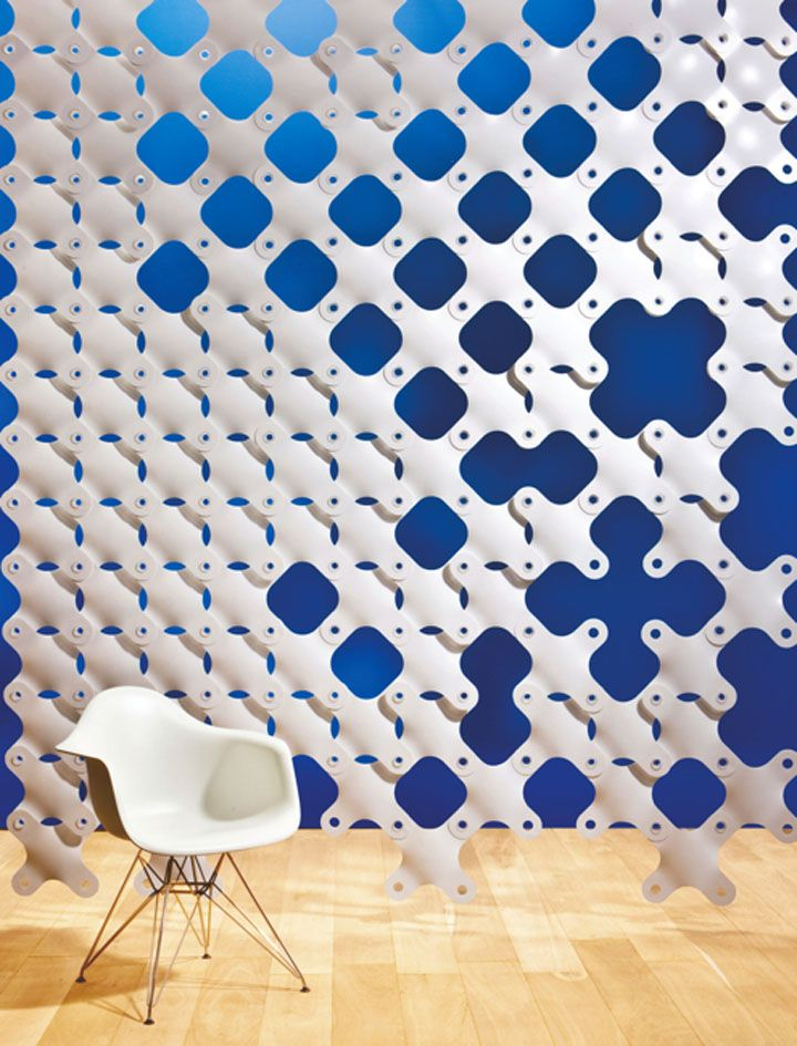 Who didn't love playing with Legos and Construx as a kid? Now that we've grown up, 3form has made the adult equivalent: Ditto, a modular cross-shaped product that forms together to create partitions, sculptural center pieces and wall art. Made from 40 percent pre-consumer recycled materials, the modules come in a variety of colors and can be used to create endless organic structural designs.