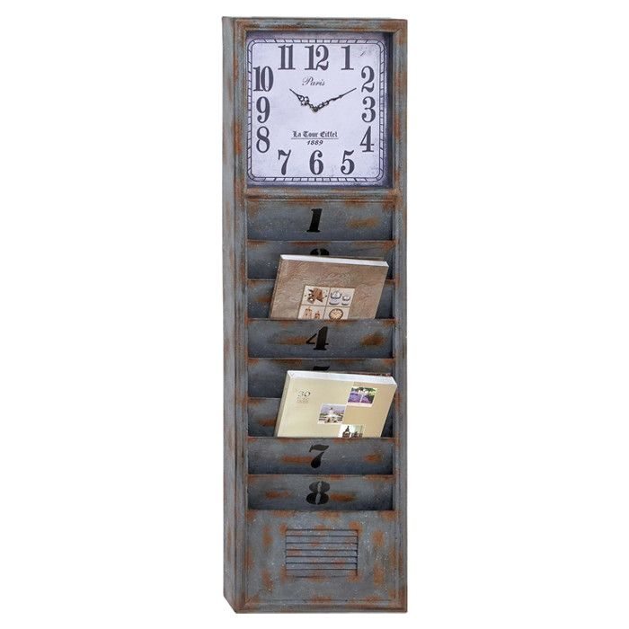 Factory Wall Clock and Letter/Magazine Storage