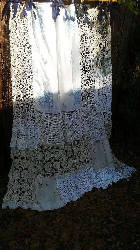 Shabby Chic Shower Curtain/Vintage Crochet/Vintage