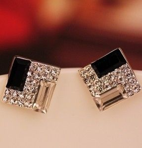 E185 Noble temperament is black and white ultra female joker ShanZuan squares in Europe and the earrings-in Stud Earrings from Jewelry on Aliexpress.com | Alibaba Group