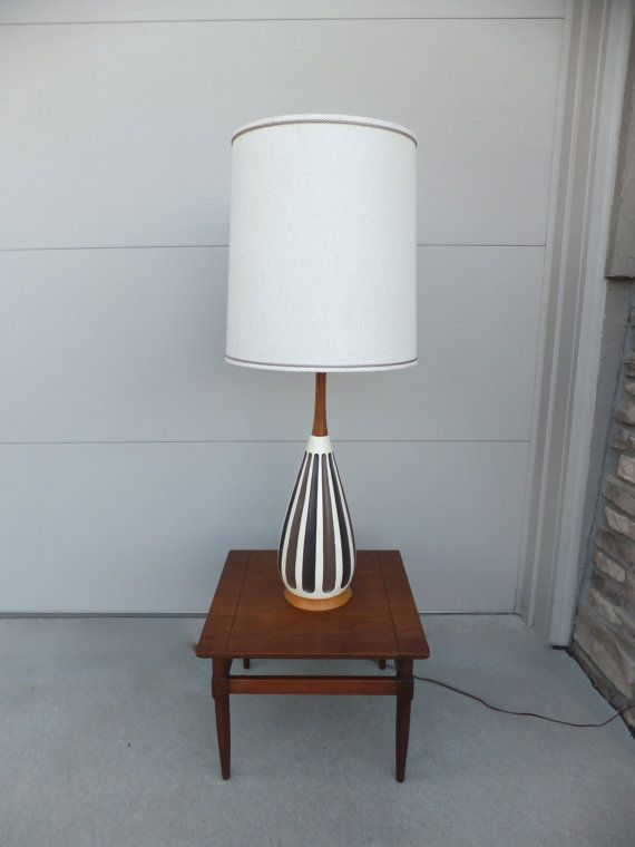 Mid Century Modern Ceramic Lamp 41 TALL with Original Extra Large Lamp SHADE Wood Neck and Base Vintage Art Pottery Retro