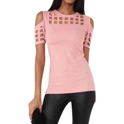 Women's pink Short Sleeve T-shirt Tops summer spring ladies fashionable t shirts