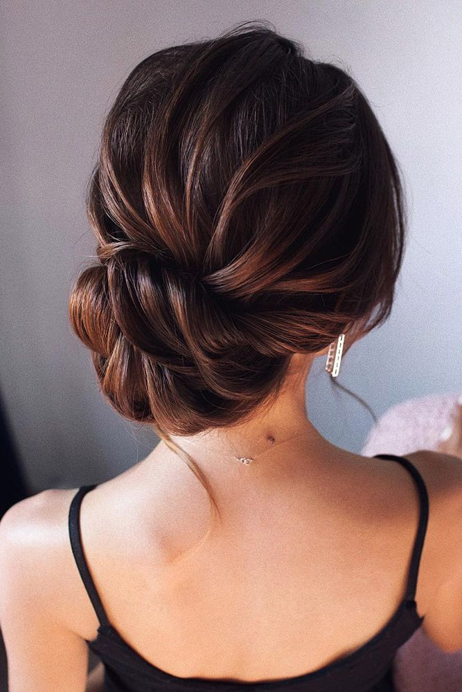Wedding Updos For Medium Hair Textured Elegant Low Updo On Dark Hair Tonyastylist Up Dos For Medium Hair Hair Styles Long Hair Styles