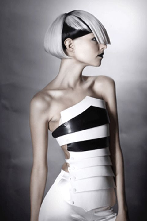 geometric black and white hair