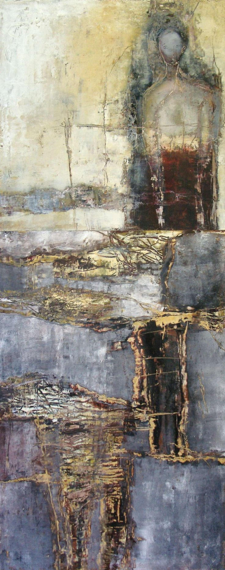 """Jeane Myers   Sideways Through The Small Windows   oil and cold wax on panel - dyptych 60""""x24"""" /sm"""