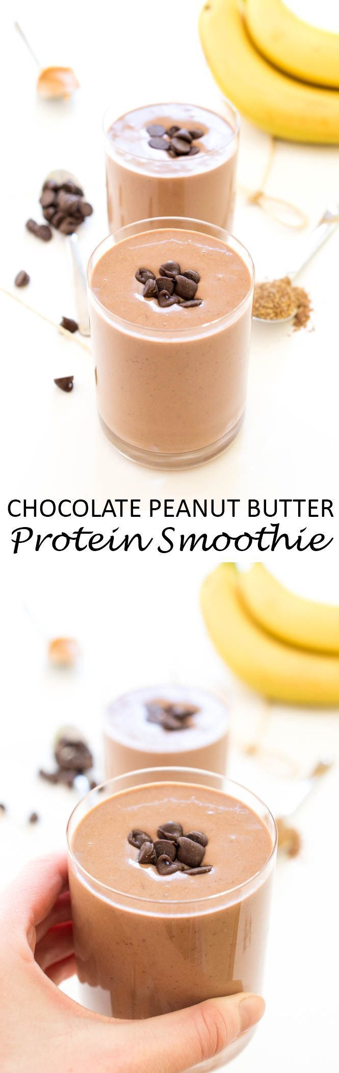Super Easy 5 Minute Chocolate Peanut Butter Protein Smoothie. A healthy smoothie that tastes like dessert! The perfect way to start your day.   chefsavvy.com #recipe #chocolate #smoothie #protein #breakfast #snack
