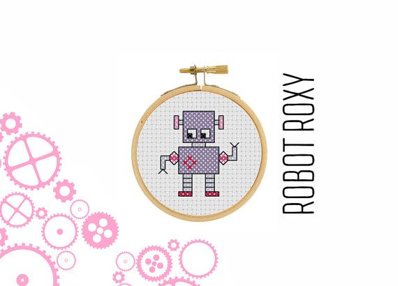 Robot Roxy  borduur patroon  mini robot  pixel art  modern