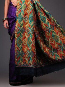 Violet Tussar Silk Kantha Embroidered Saree