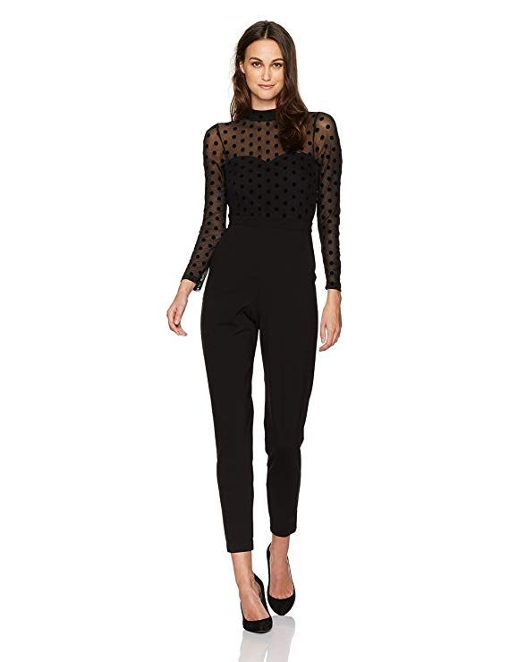 a55a3f644be French Connection Women s Black Lace and Sheer Fitted Straight Leg Jumpsuit