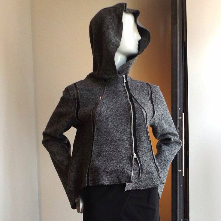 Boiled wool hooded jacket with mesh strips- off set zipper  Pant with overlap #rawandrefined #magpietoronto
