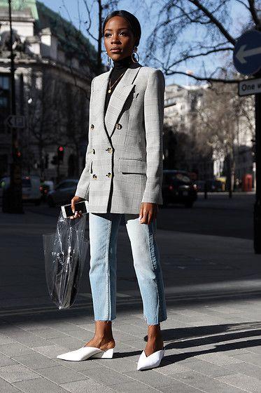 Get this look: http://lb.nu/look/8971812 More looks by Rachel O.: http://lb.nu/chicglamstyle Items in this look: Aldo Hoop Earrings, Zara Checked Blazer, Mango Plastic Bag, Zara Cropped Jeans, Zara Mules #casual #chic #minimal #lfw #londonfashionweek