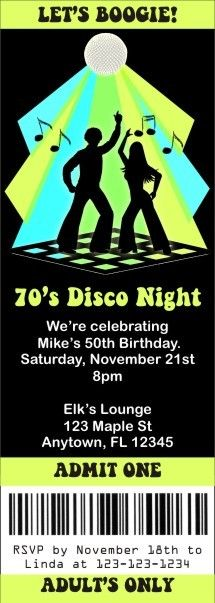 "Disco Ticket Style Invitations (slim style)   Boogie down with this Disco ticket invitation from personalizedpartyinvites.com ! Party like it's the 1970s with our disco ticket invitation. It's easy to customize this ticket invite with your wording! Ticket measures 2 1/2"" x 7"". Order today!"