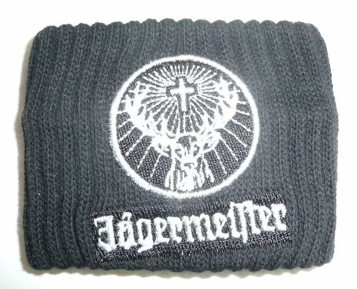 Jagermeister Black Wrist Band Sweat Band Stag Logo Jager Black & White Athletic #Jagermeister