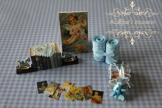 Dollhouse miniature set for baby boy 4  IT'S by Lilliputstreasures