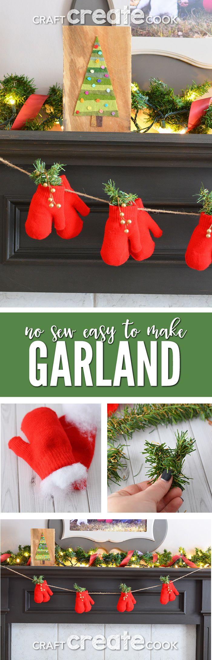 Mitten christmas decorations - Dollar Store Christmas Mitten Garland Home Decor