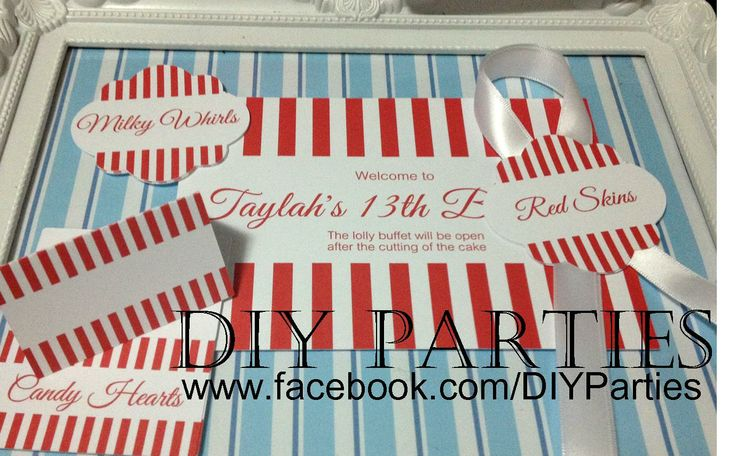 Table sign, tent cards & candy buffet jar labels - red & white stripe.  Find us on Facebook:  www.facebook.com/DIYParties