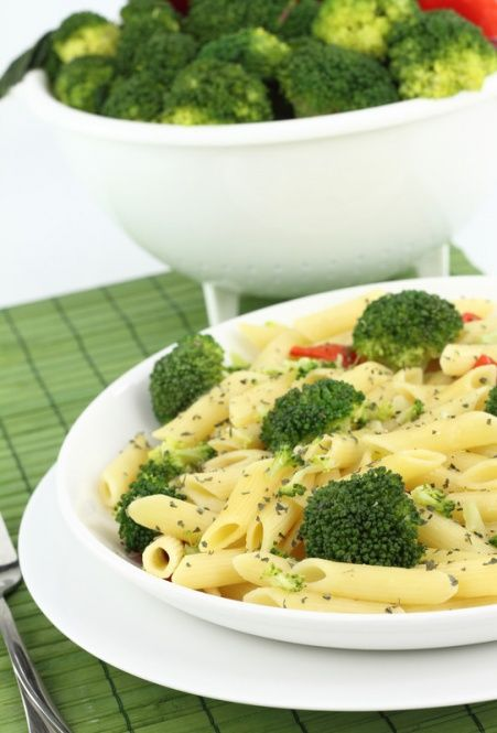 Broccoli Penne  1 cup Chicken Broth  * 1/2 teaspoon dried basil leaves, crushed  * 1/8 teaspoon ground black pepper  * 3 cloves garlic,       minced  * 3/4 tsp crushed red pepper flakes  * 3 cups broccoli flowerets  * 4 1/2 cups hot cooked Penne pasta (medium tube-shaped pasta), cooked without salt  * 1 tablespoon lemon juice  * 2 tablespoons grated Parmesan cheese