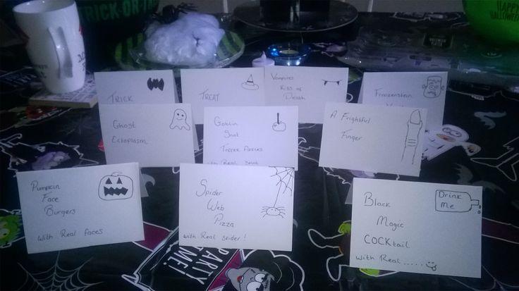 Halloween buffet signs