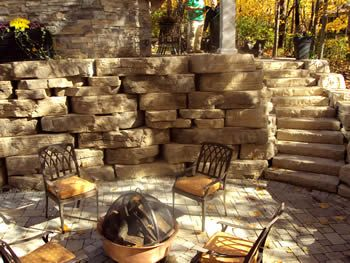 Patio With Stone Firepit