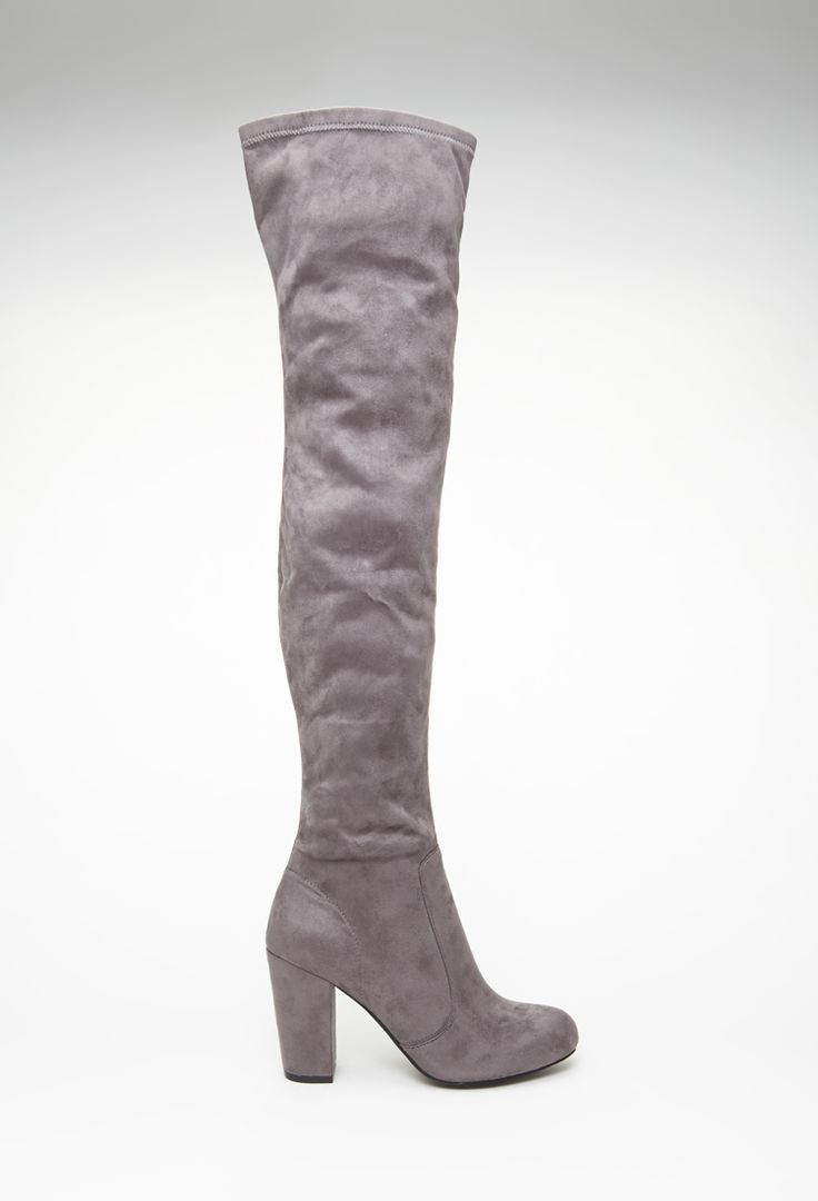 Faux Suede Over-the-Knee Boots   FOREVER21 - gray/ taupe