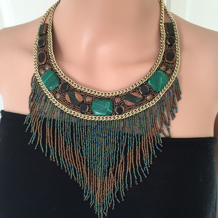 Necklace by Nouvelle of London in Lovely Green and Bronze Tones