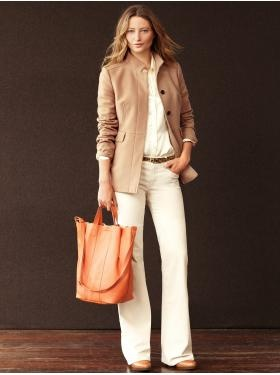 Another nice work style. Silk button down blouse $79.50, Cord trouser $79.50, Kristin Tote $130, Sophie braided bootie $198