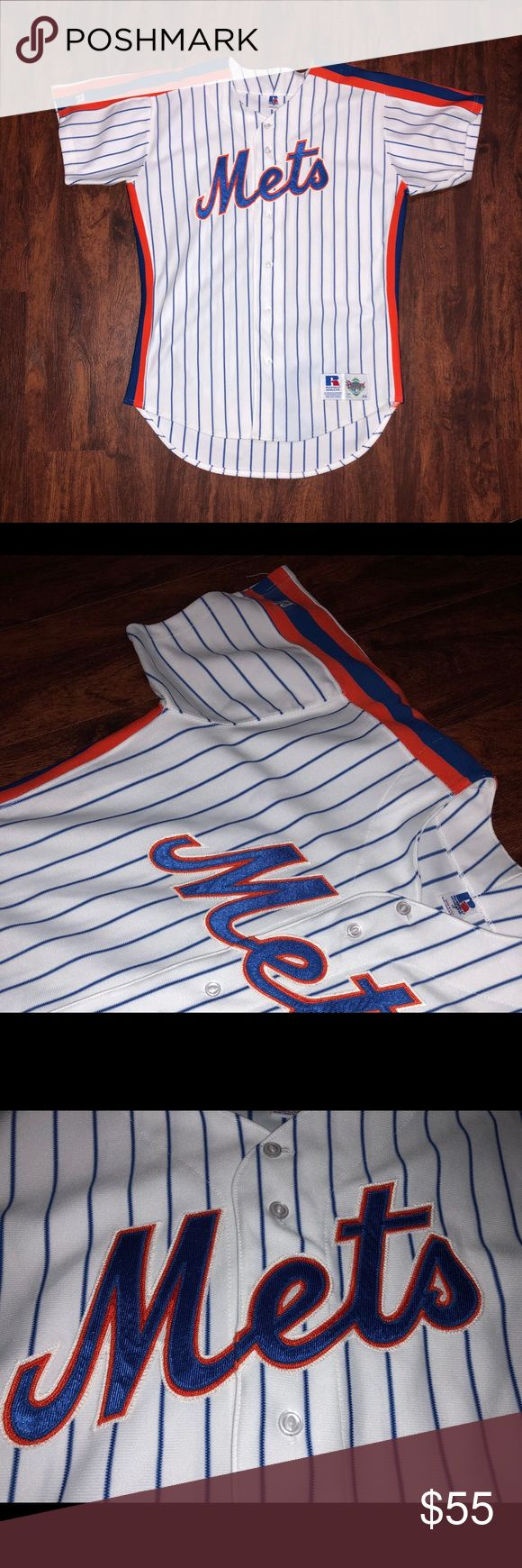 New New York Mets baseball MLB jersey Russell This is an original vintage Diamondallstar baseball jersey by russell brand. Not many of these are around especially that are new. Look at the pinstripe just beautiful. Let's go NEWYORKMETS ❗️ don't miss out on this great buy, for such a great price. Be ready and Get fresh this summer 😎keep it cool.  Happy buying and thank you Russell Shirts Tees - Short Sleeve