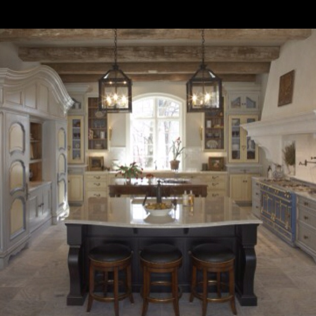 French Country Lighting Over Kitchen Island
