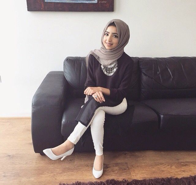 Hijab White Jeans Outfit Hijab Fashion Pinterest