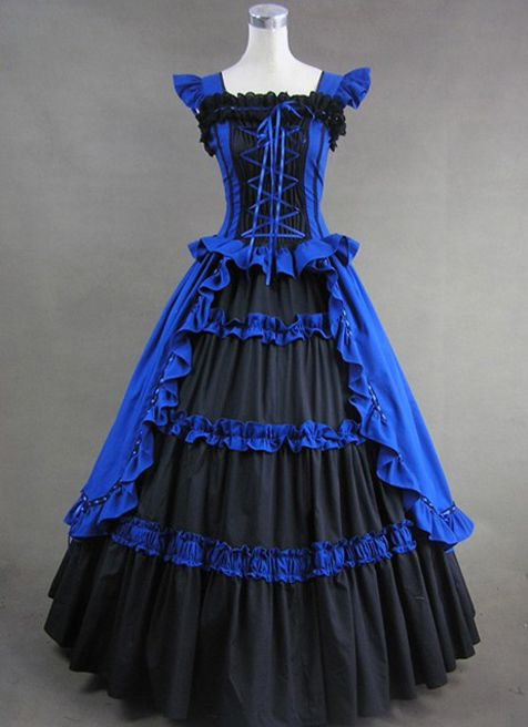 Royal Blue and Black Elegant Cotton Gothic Victorian Dress | Cheap gothic victorian lolita dresses Sale
