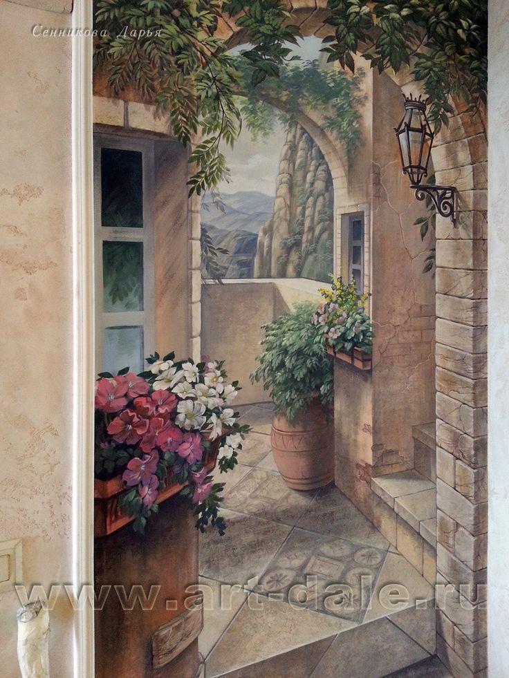 Роспись-обманка в коридоре. Фрагмент
