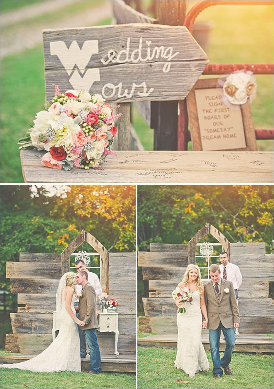 obvi love the wedding vows sign and it's a must have but I LOVE their guest book! SUCH an awesome idea