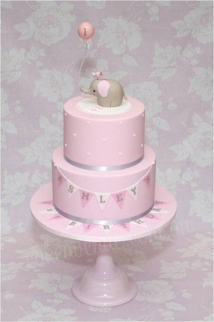 Pink Baby Elephant Cake- love the elephant holding the balloon & the banner.. maybe for her smash cake?
