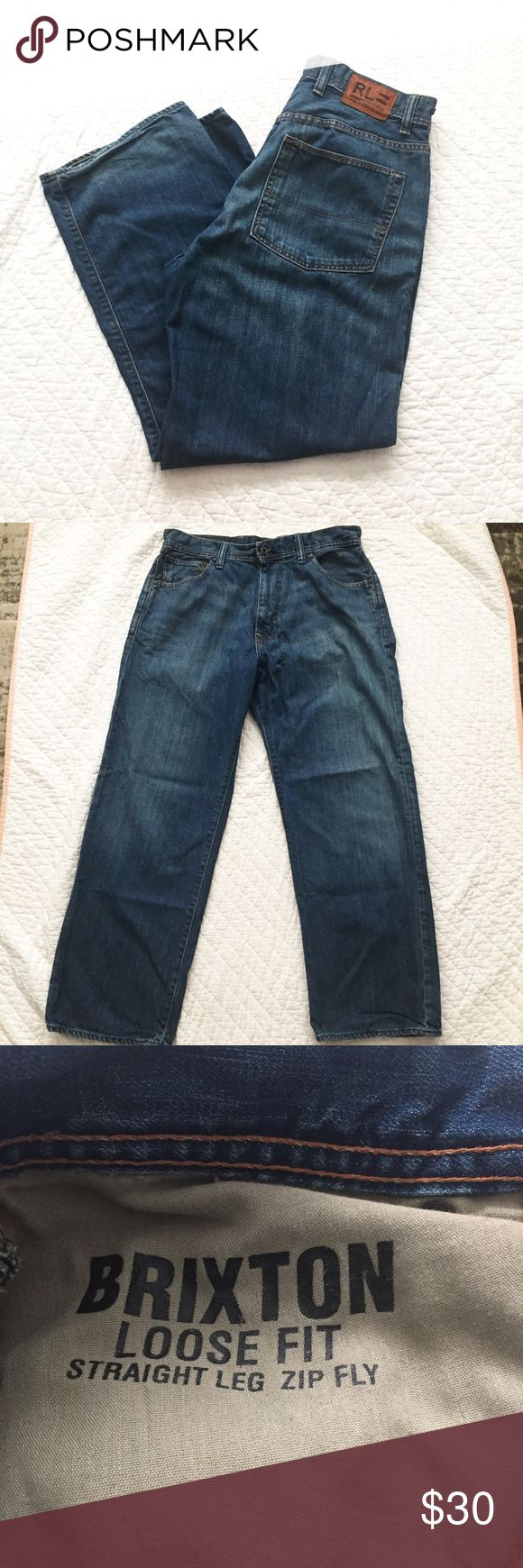 Polo Jeans Sz 34x32 Brixton Loose Fit Jeans Ralph Lauren Polo Jeans. Brixton fit. Loose fit with straight leg and zipper fly. Size 34x32. Medium wash with hints of tan. VGUC. no fraying at bottoms. Polo by Ralph Lauren Jeans Relaxed