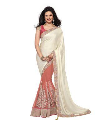 Ishita Gajri And Cream Net Satin Party Wear Saree Bollywood Sarees Online on Shimply.com