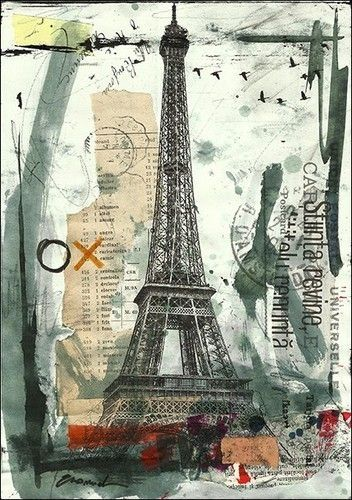 eiffel - mixed media collage by debchadburn