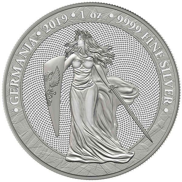 2019 Germania 5 Mark 1oz 999 Fine Silver Bullion Coin 1st Year Of Release Silver Coins Coin Art Silver Bullion Coins
