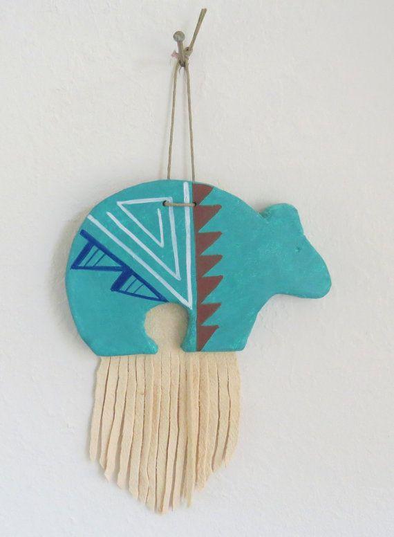 southwest spirit bear zuni western native american indian turquoise fringed leather wall hanging pueblo clay decoration cowboy christmas