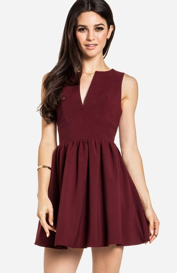 Plunging Fit and Flare Dress.  love the burgundy color!