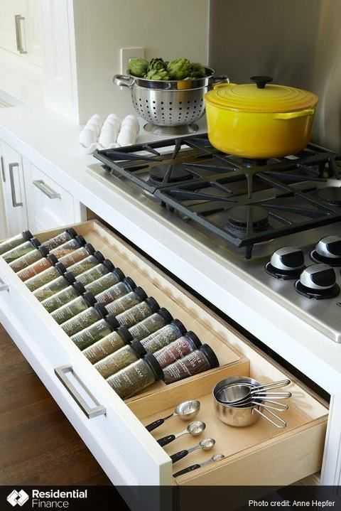 Spices under the cook top