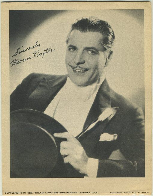 Oscar winning actor Warner Baxter was born on March 29 in 1889--Turner Classic Movies airs nine movies starring Baxter to remember him on his date of birth. Included is 42ND STREET and PENTHOUSE (both 1933). Baxter is pictured here from that same time on a Philadelphia Record Newspaper Supplement photo dated August 27, 1933.