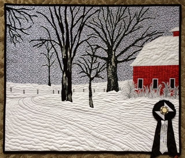 Winter on the farm x challenge using only black and white fabrics and not more than of another color by meriul easton 2016