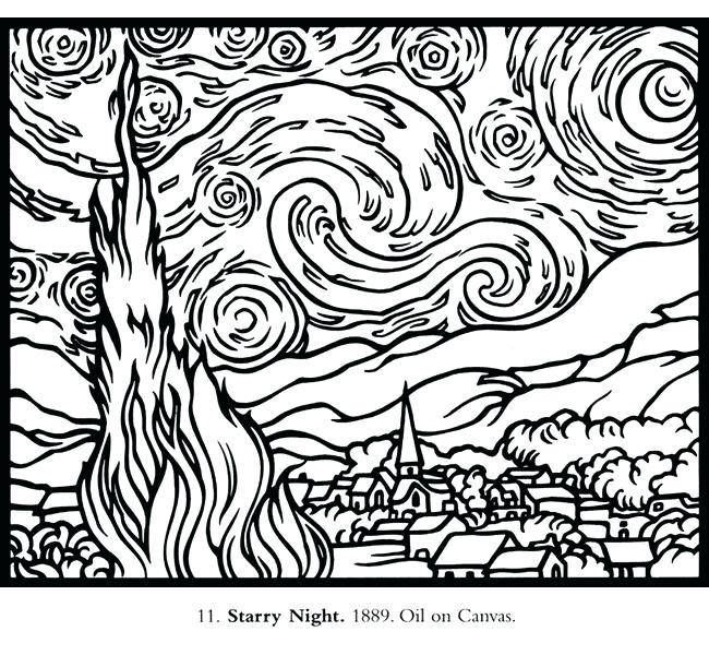 Starry Night Coloring Page Inspirational Van Gogh Coloring Pages